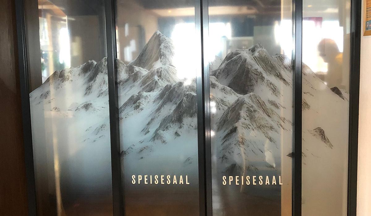 Automatische Schiebetüren Digitaldruck Bergmotiv