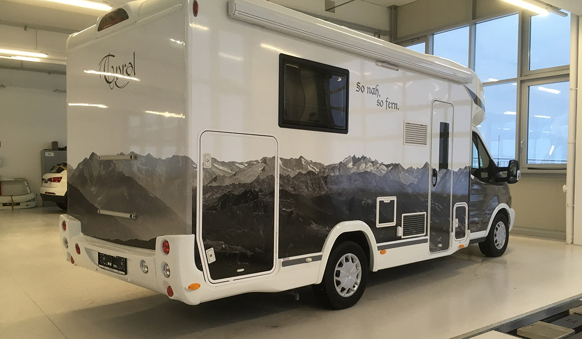 Wohnmobil Digitaldruck Bergmotiv