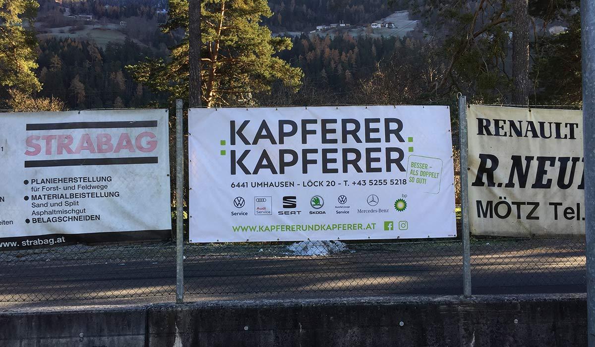 Kapferer & Kapferer Umhausen Werbefläche Fussballplatz