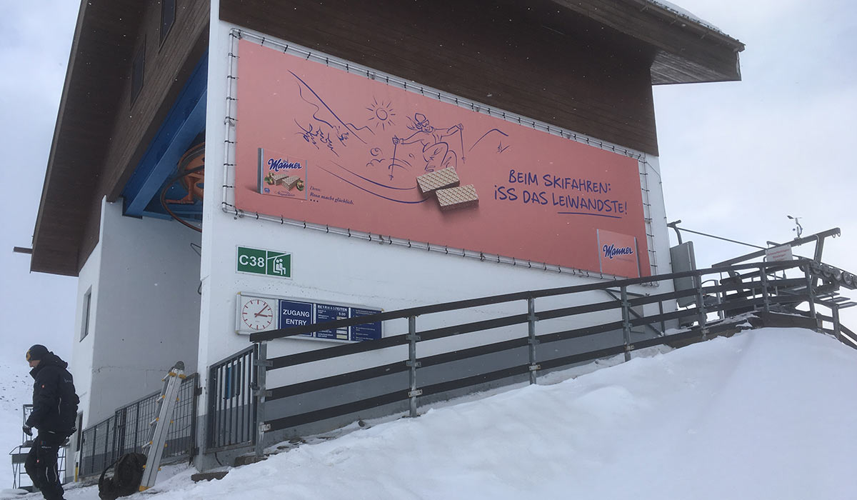 Werbetransparent Skigebiet Sölden